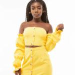 Ruffled Sleeve Button down Bardot Top And Skirt Set